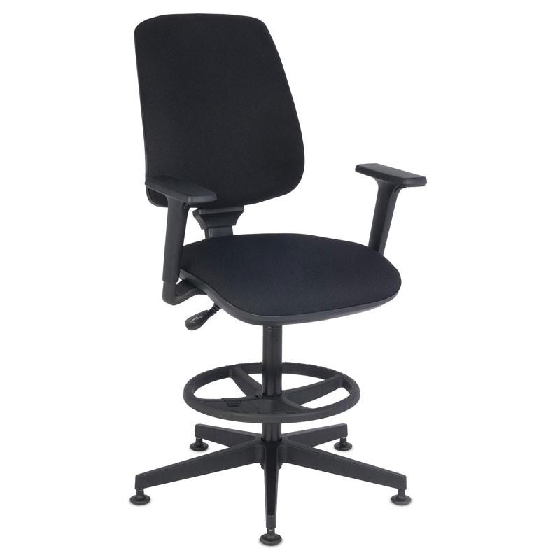 Starter 3D Ring Base kontorstol med højdejusterbar fodstøtte - sort med armlæn