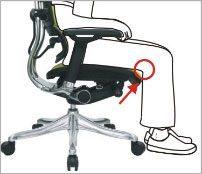 Sædedybde kan justeres så benene kan være 90 grader - ErgoHuman ergonomisk kontorstol