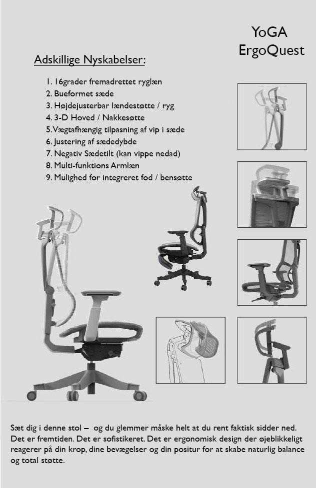 Kontorstol YoGA ErgoQuest Beskrivelse af funktioner 01